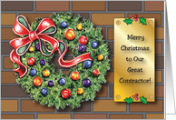 Merry Christmas to Contractor, wreath card
