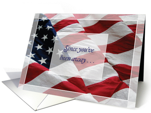 I Miss You, deployed military spouse, American Flag card (961297)