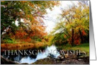Thanksgiving wishes, fall scene, trees, river,Autumn,colors, red, yellow card