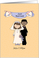 Just married, caucasian bride/African-American groom card