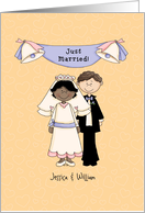 Just married, African-American bride/caucasian groom card