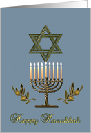 Hanukkah Menorah Star of David olive branches card
