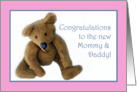 Teddy Bear, Congrats to the New Mommy and Daddy, pink card