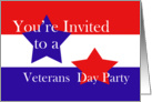Red, White and Blue, Veterans Day Party card