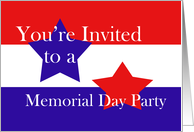 Red, White and Blue, Memorial Day Party card