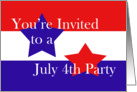 Red, White and Blue, July 4th Party card