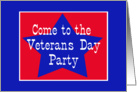 Red, White and Blue Star, Veterans Day Party card