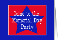 Red, White and Blue Star, Memorial Day Party card