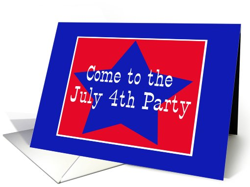 Red, White and Blue Star, July 4th Party card (624850)