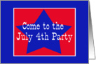 Red, White and Blue Star, July 4th Party card