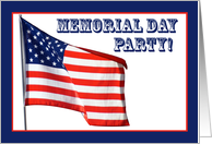 American Flag, Memorial Day Party card