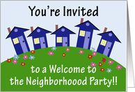Houses on a Hill, Welcome to the Neighborhood Party Invitation card