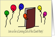 Balloon People Coming Out of the Closet Party Invitation card