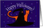 Witches Hat and Orange Cat Happy Halloween card
