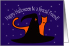 Witches Hat and Orange Cat Happy Halloween Friend card