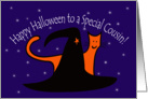 Witches Hat and Orange Cat Happy Halloween Cousin card