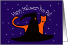 Witches Hat and Orange Cat Happy Halloween Secret Pal card