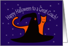 Witches Hat and Orange Cat Happy Halloween Great Coach card