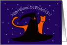 Witches Hat and Orange Cat Happy Halloween Son card