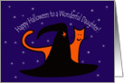 Witches Hat and Orange Cat Happy Halloween Daughter card