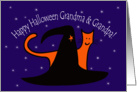 Witches Hat and Orange Cat Happy Halloween Grandma and Grandpa card