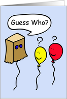 Secret Pal Balloon People, guess who? card