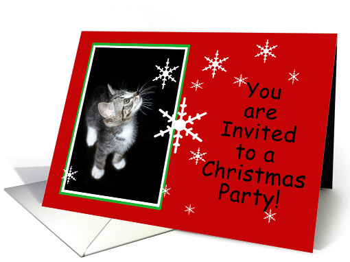 Snowflake Kitten You Are Invited to a Christmas Party card (849717)