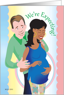 We're Expecting Announcement Interracial card
