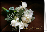just married, white roses & calla lilies card