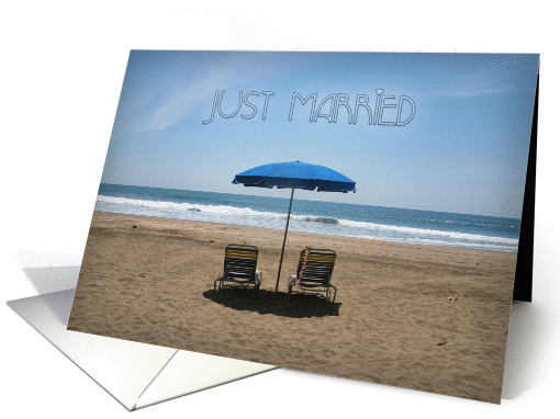 Just Married Beach Chairs Wedding Announcement card (1096472)