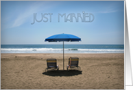 Just Married Beach Chairs Wedding Announcement card