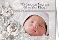 German Baptism invitation with customizable text & photo card