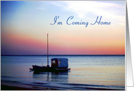 Coming Home Card - Boat, Ocean, Sunset, Twilight card