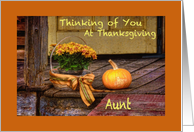 Thinking of Aunt at Thanksgiving, Basket of Mums, Pumpkin, Porch card