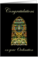 Congratulations on your Ordination, stained glass window card