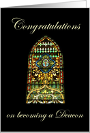 Congratulations on becoming a Deacon, stained glass window card