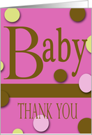 modern theme baby girl thanks card