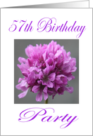 Happy 57th Birthday Party Invitation Purple Flower card