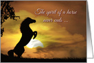 Horse Spirit Sympathy Loss of Horse, Equine Sympathy Rearing Horse card