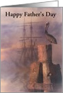 Happy Father's Day Nautical Ship and Pelican Customizable card