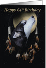 64th Birthday Dream-catcher and full moon with Siberian Husky card