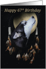 67th Birthday Dream-catcher and full moon with Siberian Husky card