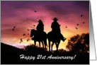 Cowboy and Cowgirl 21st Anniversary card