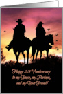 Cowboy and Cowgirl 25th Anniversary, 25th Western Wedding Anniversary card