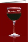 21st Birthday Red Wine, Turning 21, Wine Funny 21st Birthday card