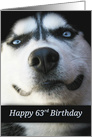 63 Years Old, Fun Turning 63, Cute Husky Happy 63rd Birthday card