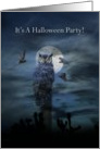 Halloween Party Invitation Owls and Full Moon card