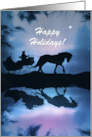 Happy Holidays Horse and Sleigh Customizable card