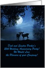 2 Deer Moonlight Wedding Anniversary Party Invitation Customizable card