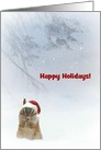 Chipmunk in the snow Santa Hat Happy Holidays Customize card